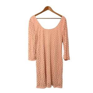 AUW Pink Crochet Covered Dress Scoop Half Sleeve